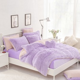 Solid Purple and Pink Color Blocking Fluffy 4-Piece Bedding Sets/Duvet Cover