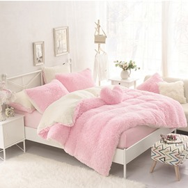 Solid Pink and Creamy White Color Block 4-Piece Fluffy Bedding Sets/Duvet Cover