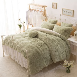 Solid Green and White Color Blocking Fluffy 4-Piece Bedding Sets/Duvet Cover