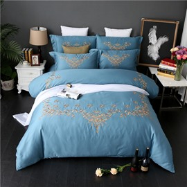 Embroidery European Scrolls Luxury Style Blue 4-Piece Cotton Sateen Bedding Sets/Duvet Cover