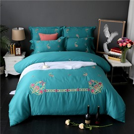 Embroidery Flowers Pattern Luxury Style Green 4-Piece Cotton Sateen Bedding Sets/Duvet Cover