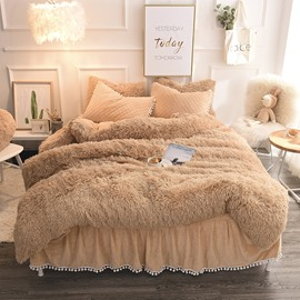 Luxury Plush Shaggy Duvet Cover Set Winter Sof Warm Pink Thick Mink Wool Bed Skirt 4Pcs Fluffy Bedding Sets Solid Zipper Closure Camel
