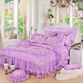 Trimming Lace Solid Purple Princess Style Cotton 4-Piece Bedding Sets/Duvet Cover