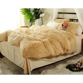 Full Size Light Khaki Super Soft Fluffy Plush 4-Piece Bedding Sets/Duvet Cover