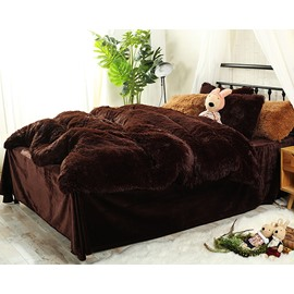 Full Size Chocolate Brown Super Soft Plush 4-Piece Fluffy Bedding Sets/Duvet Cover
