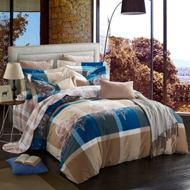 Autumn Trees and Plaid Pattern Modern Style Cotton 4-Piece Bedding Sets/Duvet Cover