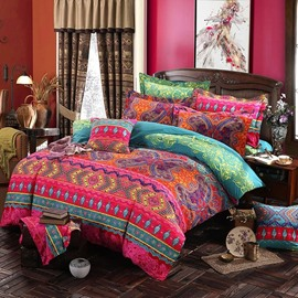 Bohemia Style Lightweight Ethnic Pattern 4-Piece Zipper Bedding Sets Hard-Wearing Colorfast Duvet Cover