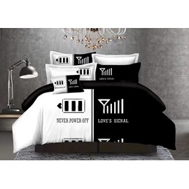 Couple Love Power Signal Black and White Blocking 3-Piece Bedding Sets/Duvet Cover