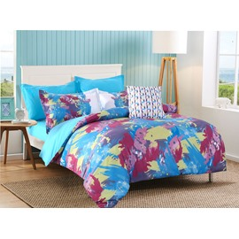 Abstract Scrawl Red Yellow Blue Pattern 4-Piece Polyester Bedding Sets/Duvet Cover
