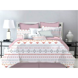 Soft Powder Warm Tone Polyester 4-Piece Bedding Sets/Duvet Cover