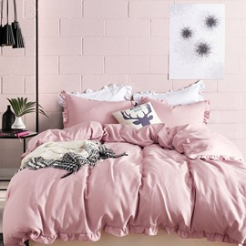 Three-Piece Set Pure Color Style Polyester Material Bedding Sets