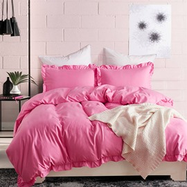 Polyester Material Three-Piece Set Pure Color Style Bedding Sets
