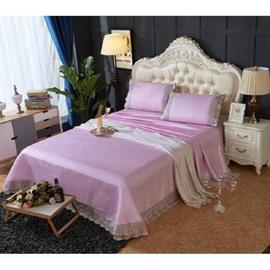 Light Purple Lace Polyester Sheet Style 3-Piece Summer Sleeping Mat Sets