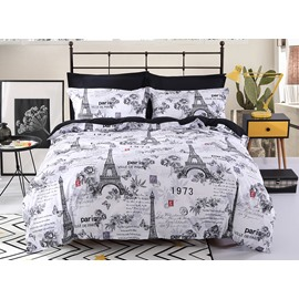 Eiffel Tower Polyester Grey & White Printing 4-Piece Bedding Sets/Duvet Cover