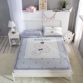 Cartoon Elephant and Star Digital Printing Pink Cooling 3-Piece Summer Sleeping Mat Sets