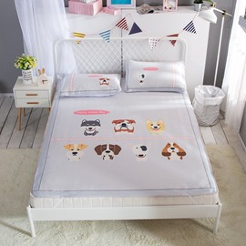 Seven Cartoon Dog Digital Printing Cooling 3-Piece Summer Sleeping Mat Sets