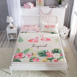 Flamingo and Flower Digital Printing Cooling 3-Piece Summer Sleeping Mat Sets