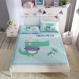 Friendly Green Crocodile Digital Printing Ice 3-Piece Summer Sleeping Mat Sets