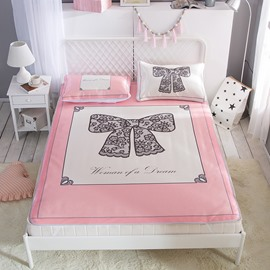 Bow Design Polyester Pink Digital Printing Ice 3-Piece Summer Sleeping Mat Sets