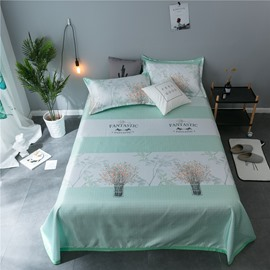 Two Bunches of Flowers Cooling Green Printing 3-Piece Summer Sleeping Mat Sets