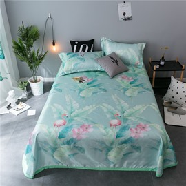 Flamingo and Leaves Printing Light Green Cooling 3-Piece Summer Sleeping Mat Sets