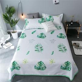 Green Leaves Plain Cooling 3-Piece Summer Sleeping Mat Sets