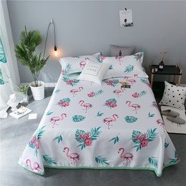 Flamingo and Green Leaves Printing Cooling 3-Piece Summer Sleeping Mat Sets
