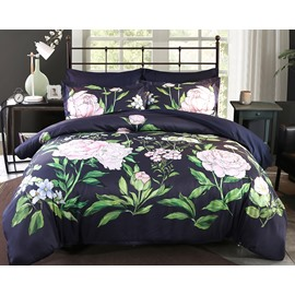 Designer 60S Brocade Pink Peony with Green Leaves Luxury 4-Piece Polyester Bedding Sets/Duvet Cover