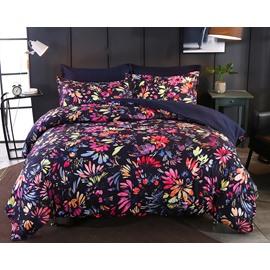 Designer 60S Brocade Multi-color Flower Pastoral Style 4-Piece Polyester Bedding Sets/Duvet Cover