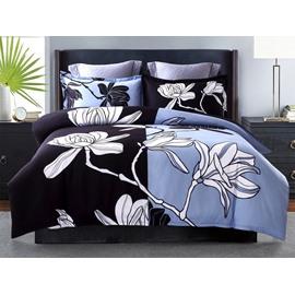 White Floral Printing Black&Blue Polyester 4-Piece Bedding Sets/Duvet Cover