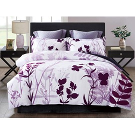 Wine Red Floral and Leaves Printing 4-Piece Polyester Bedding Sets/Duvet Cover