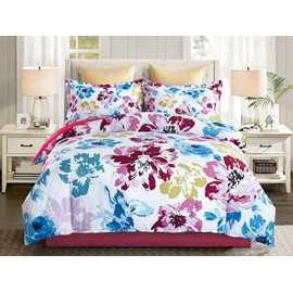 Multi-colored Floral Printing 4-Piece Polyester Bedding Sets/Duvet Cover