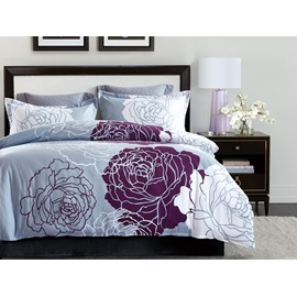 White and Red Flowers Design Printing 4-Piece Polyester Bedding Sets/Duvet Cover