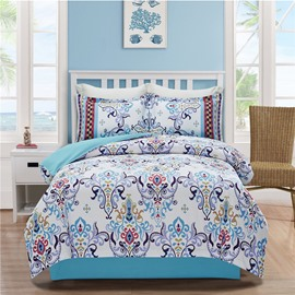 Regular Geometric Court Style Turquoise Printing 4-Piece Polyester Bedding Sets/Duvet Cover