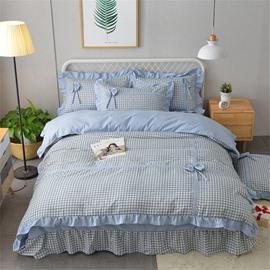 Plaid and Stripe Simple Bow Velvet 4-Piece Bedding Sets/Duvet Cover