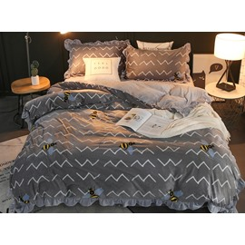 Bees and Wavy Shape Grey Velvet 4-Piece Bedding Sets/Duvet Cover