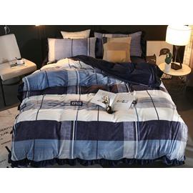 Stripes and Checks Navy Velvet 4-Piece Bedding Sets/Duvet Cover