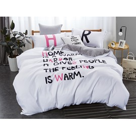 Red and Black Letter Printing White 4-Piece Polyester Bedding Sets/Duvet Cover