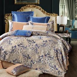 Elegant Floral Pattern Jacquard Shiny Satin 4-Piece Bedding Sets/Duvet Cover