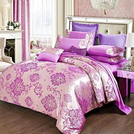 Purple Gorgeous Floral Jacquard Stain 4-Piece Bedding Sets/Duvet Cover