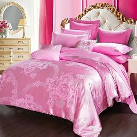 Pink Flower Jacquard Smooth Satin 4-Piece Bedding Sets/Duvet Cover