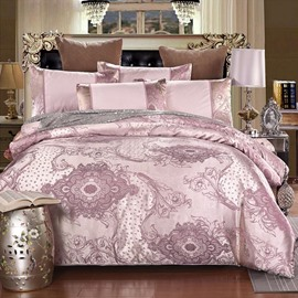 Royal Style Exquisite Jacquard Blush Pink Smooth Satin 4-Piece Bedding Sets/Duvet Cover