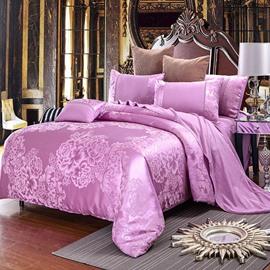 Peonies Jacquard Style Shiny Satin Blush Pink 4-Piece Bedding Sets/Duvet Cover