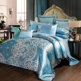Exquisite Jacquard Style Flower Pattern Turquoise 4-Piece Bedding Sets/Duvet Cover