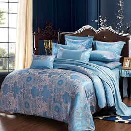 Regular Geometric Style Stain Jacquard Blue 4-Piece Bedding Sets/Duvet Cover