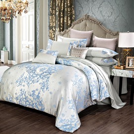Blue Delicate Satin Jacquard 4-Piece Bedding Sets/Duvet Cover