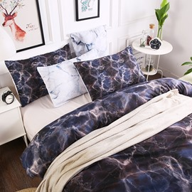 Black Large Texture Marbling Printed Polyester 3-Piece Bedding Sets/Duvet Cover