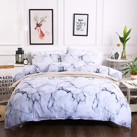 White Marble Texture Printed Polyester 3-Piece Bedding Sets/Duvet Cover