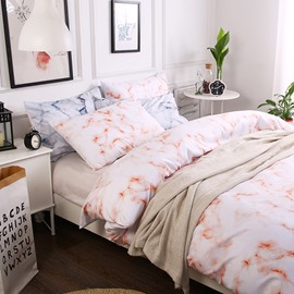 Orange Small Texture Marble Printed Polyester 3-Piece Bedding Sets/Duvet Cover