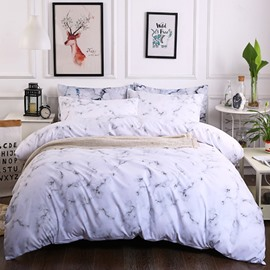 Grey Small Texture Marble Printed Polyester 3-Piece Bedding Sets/Duvet Cover
